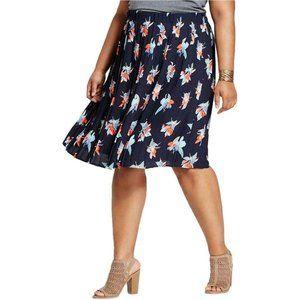 NWT Ava & Viv Plus Size Pleated Midi Skirt Navy 3X